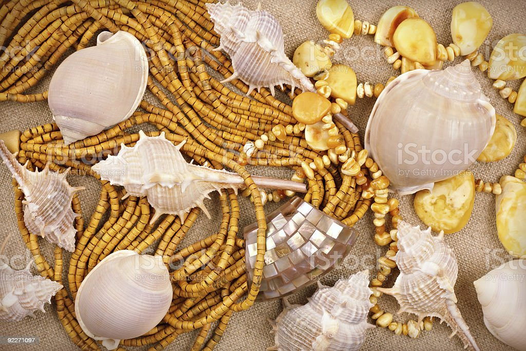 Amber and sandalwood jewelry with sea shells on canvas background stock photo