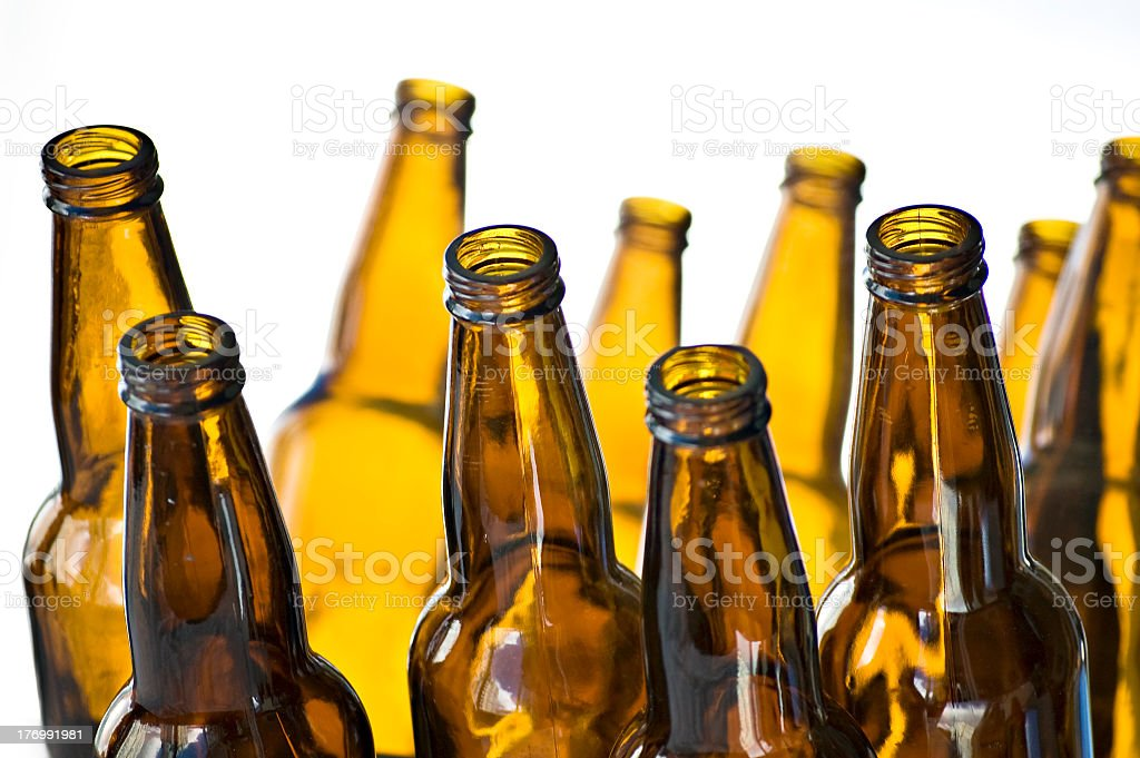 Amber Beer Bottles stock photo