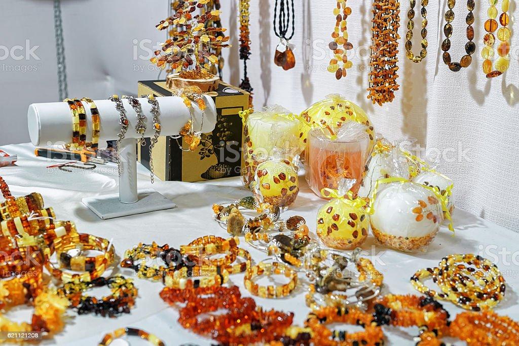 Amber bijouterie at the Vilnius Christmas market stock photo