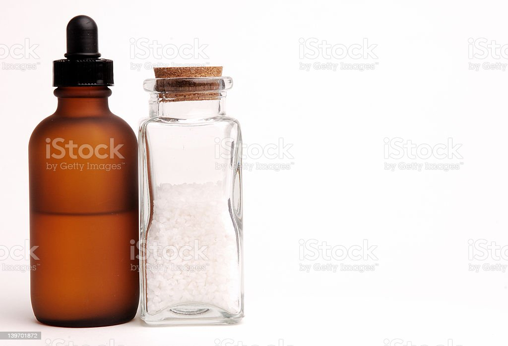 Amber Bottle and Sea Salt royalty-free stock photo