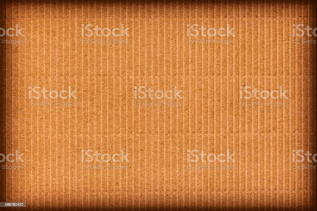 Amber Brown Corrugated Cardboard Vignette Grunge Texture stock photo