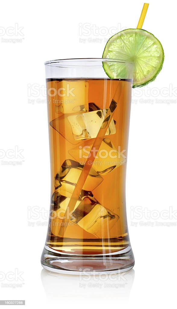 Amber cocktail in a big glass royalty-free stock photo