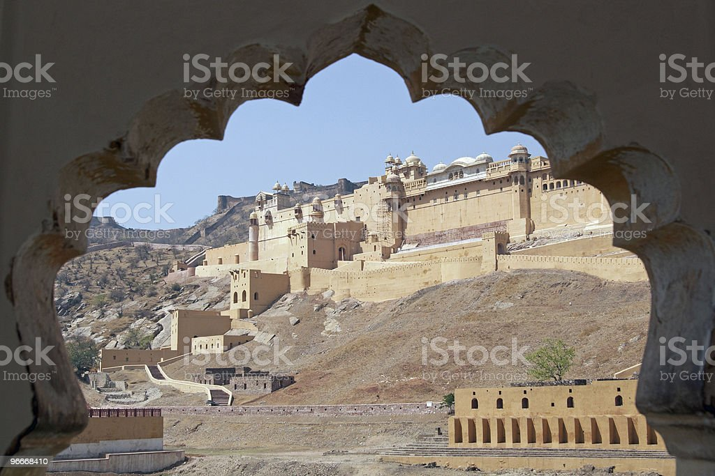 Amber Fort Framed in a Mughal Arch royalty-free stock photo