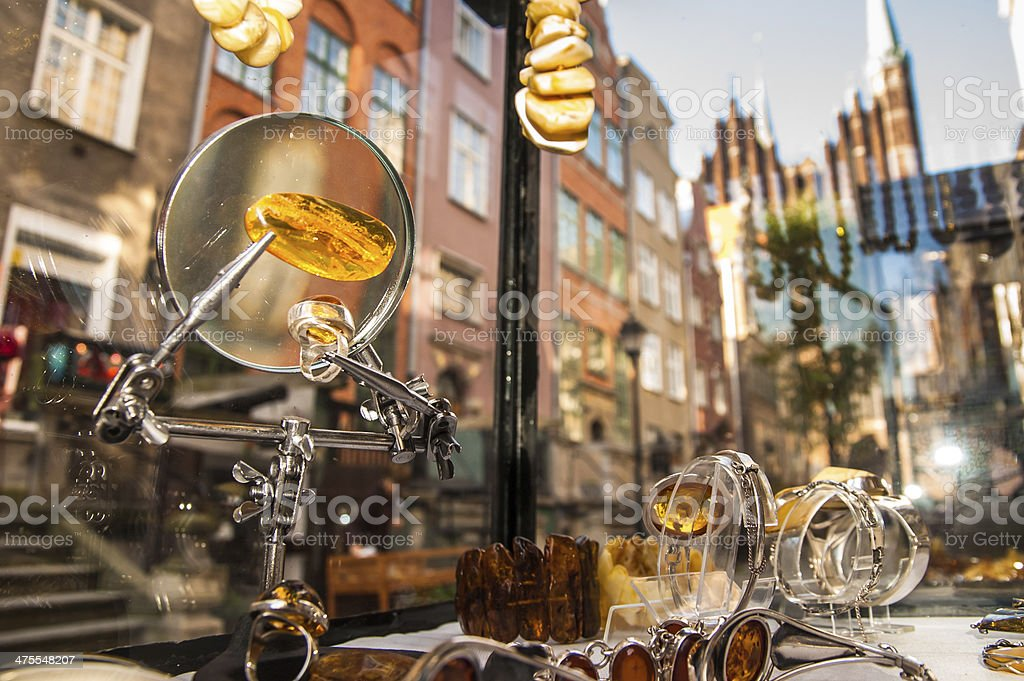 Amber jewellery stand on the street in Gdansk stock photo