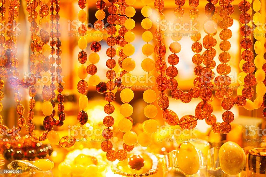 Amber jewelry stock photo