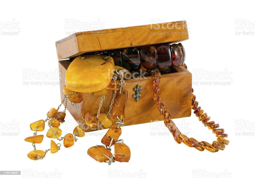 Amber jewelry vintage wooden box isolate on white stock photo