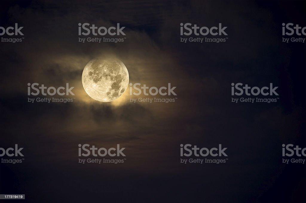 Amber moon stock photo