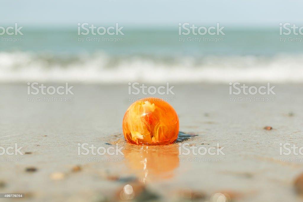 amber stone on sand baltic sea shore stock photo