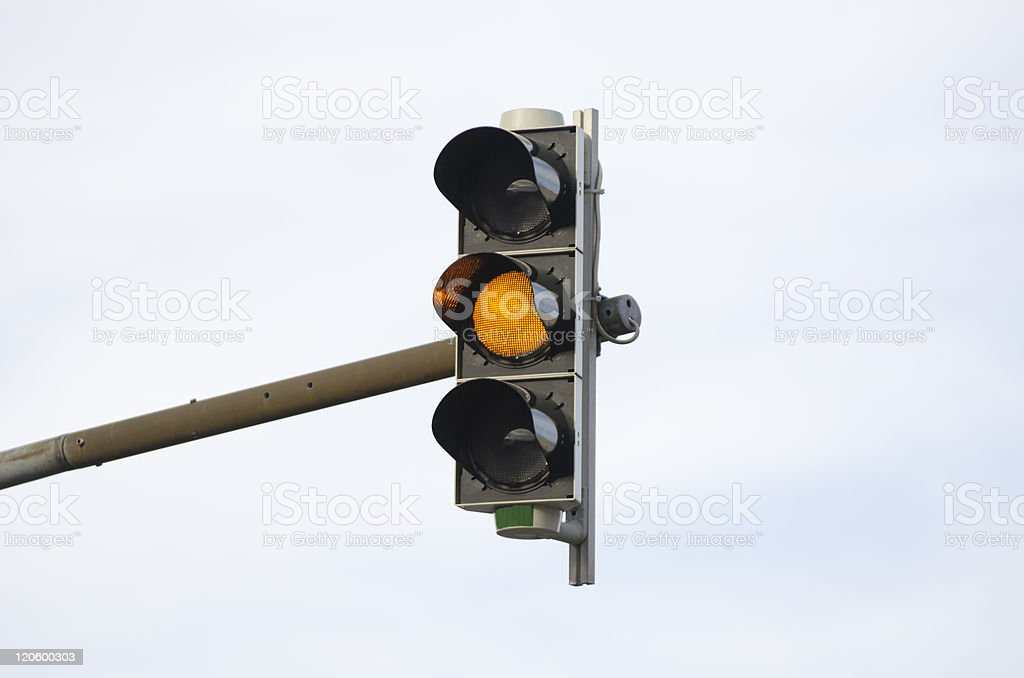 Amber traffic light stock photo