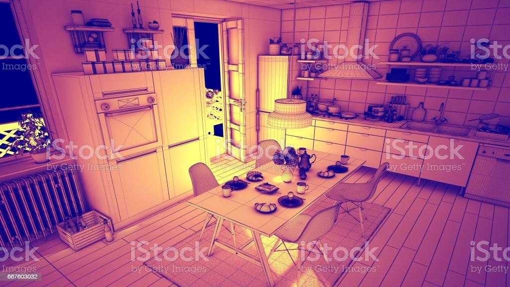 Amber Wireframe Kitchen Interior Design stock photo