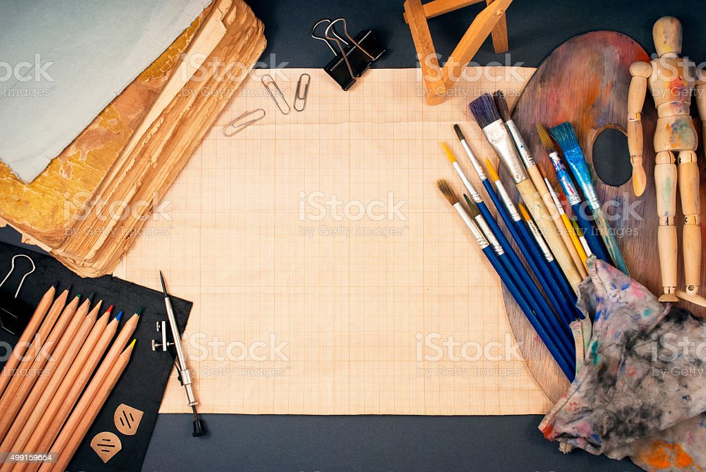 Ambience of art workplace. stock photo