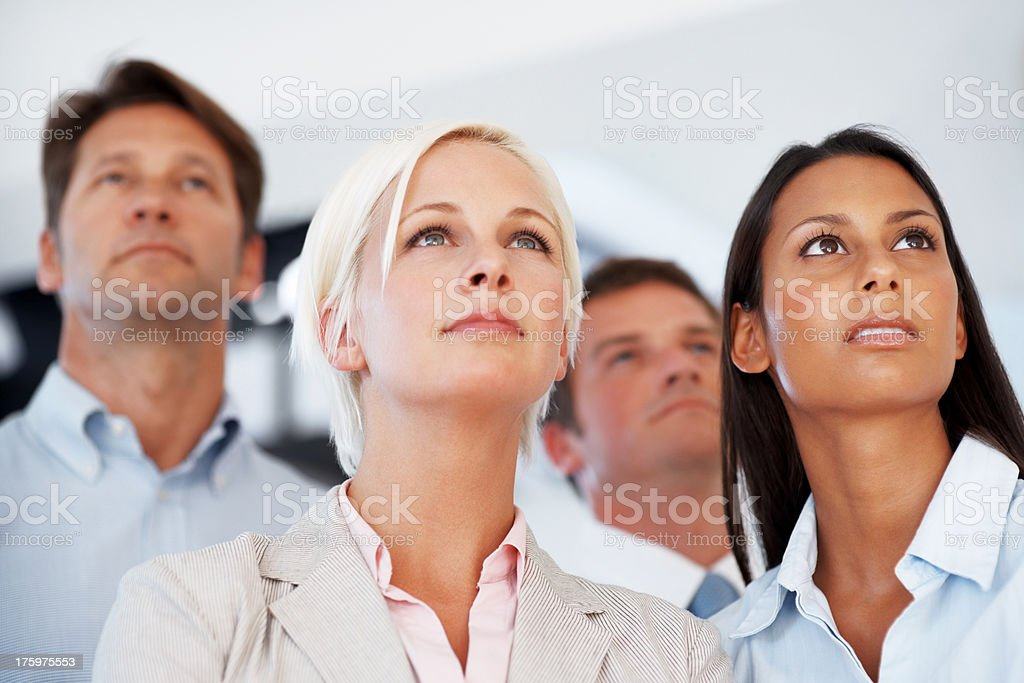 Ambitious business group looking to the bright future stock photo