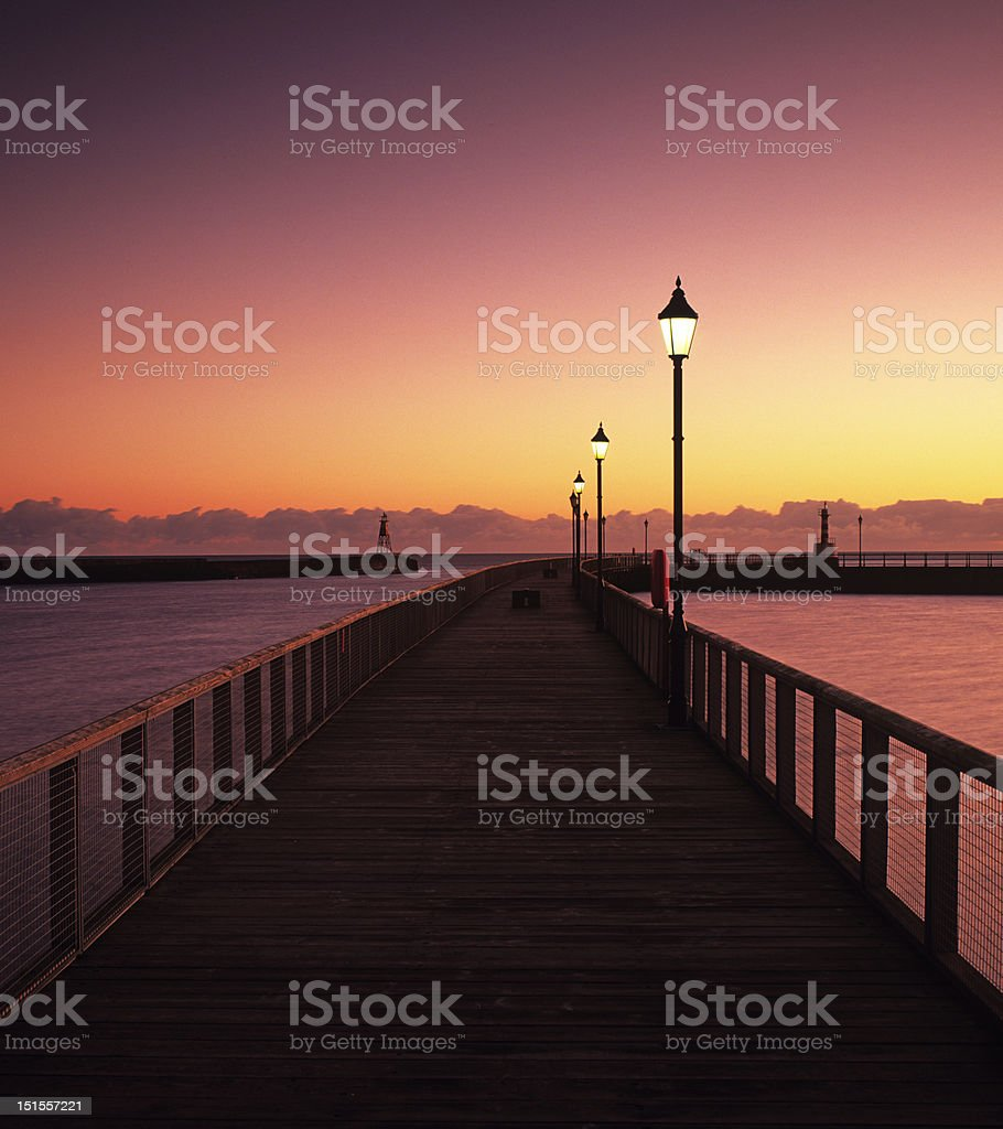 Amble pier before dawn royalty-free stock photo