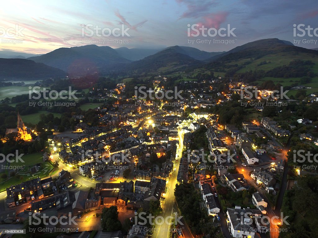 Ambleside at Night stock photo