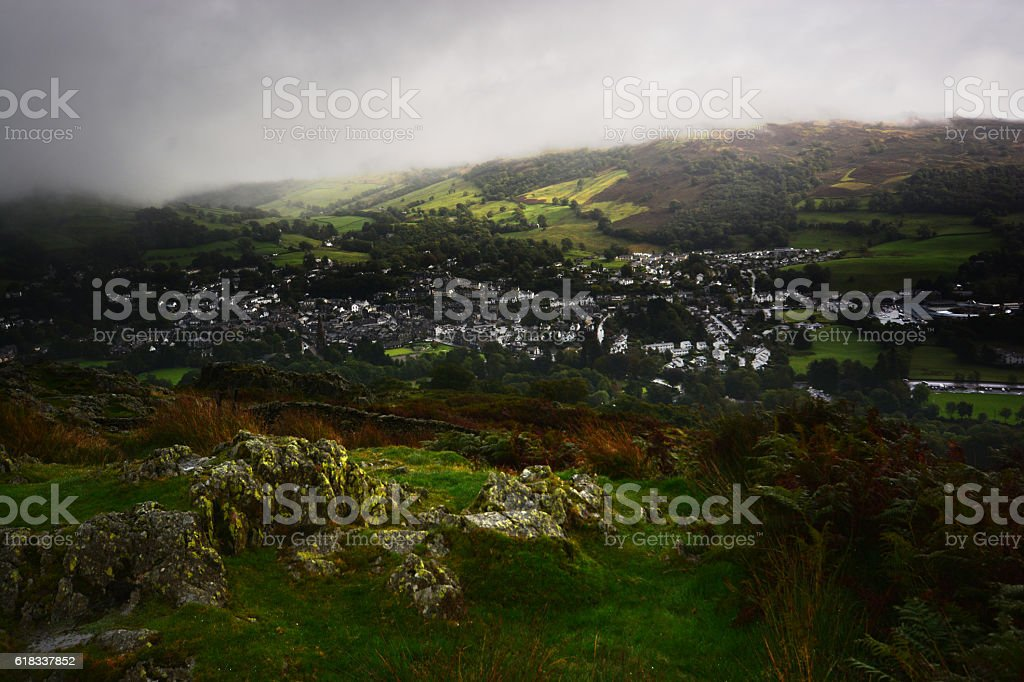 Ambleside from Loughrigg Fell stock photo