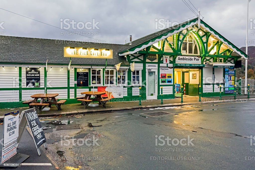 Ambleside Pier, Windermere stock photo
