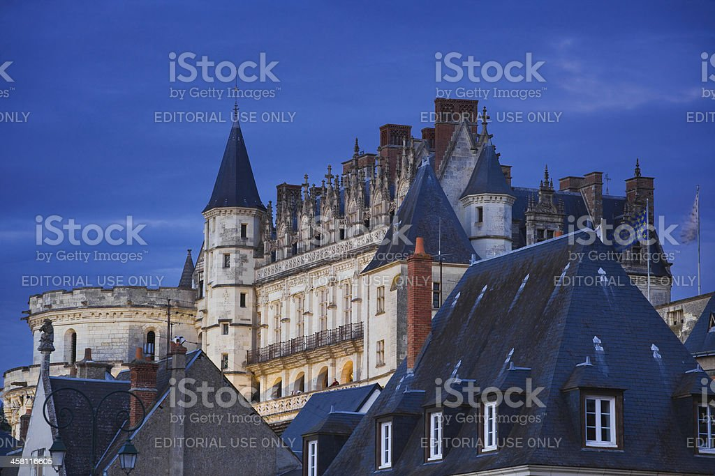 Amboise Chateau at night stock photo