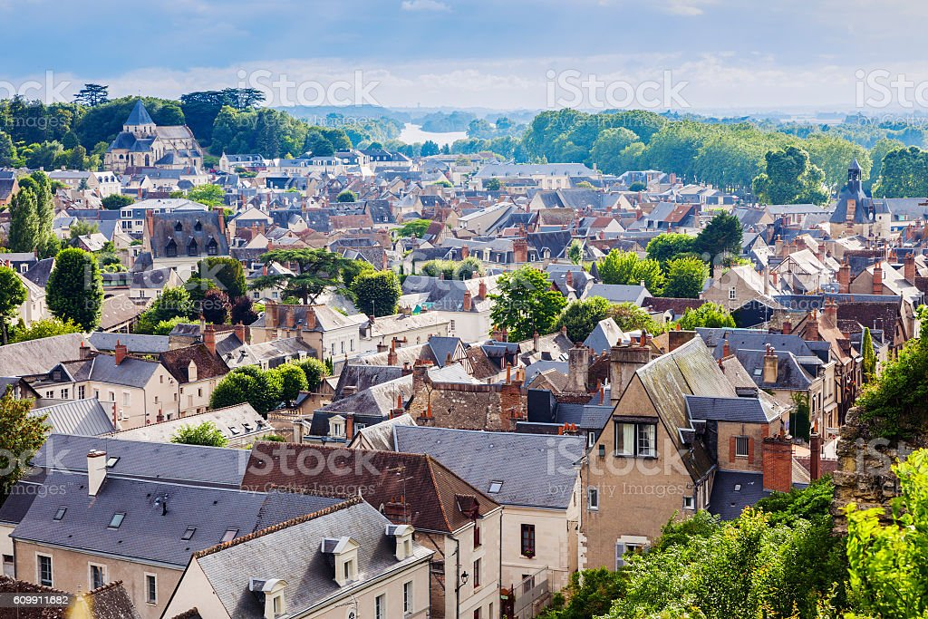 Amboise panorama - aerial view stock photo