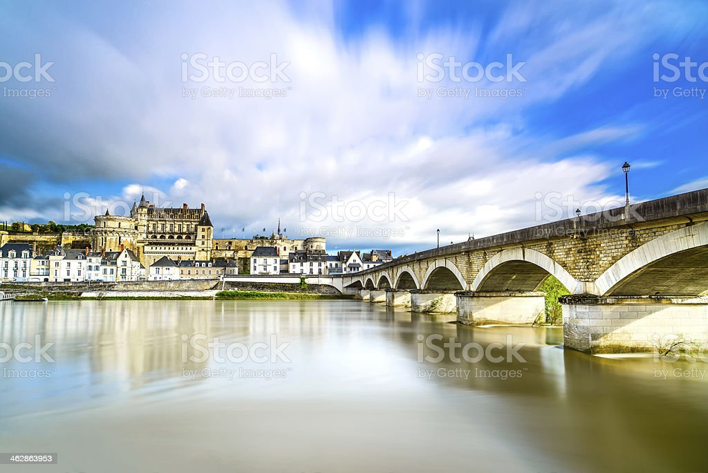 Amboise, village, bridge and medieval castle. Loire Valley, France stock photo