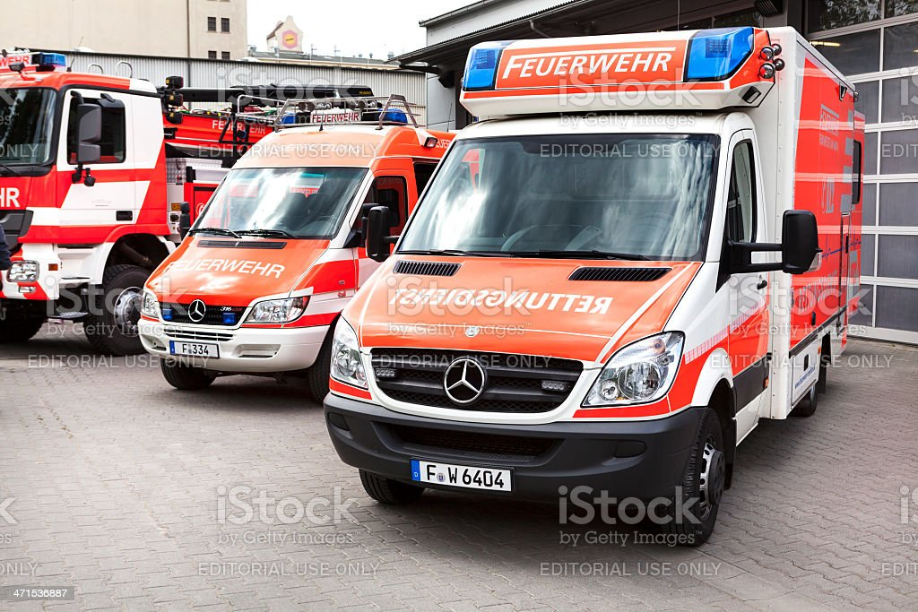 Ambulance and fire rescue vehicles of Feuerwehr Frankfurt in front of...