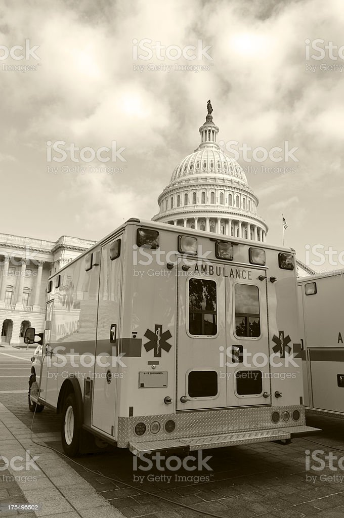 Ambulance and Government - Obamacare stock photo
