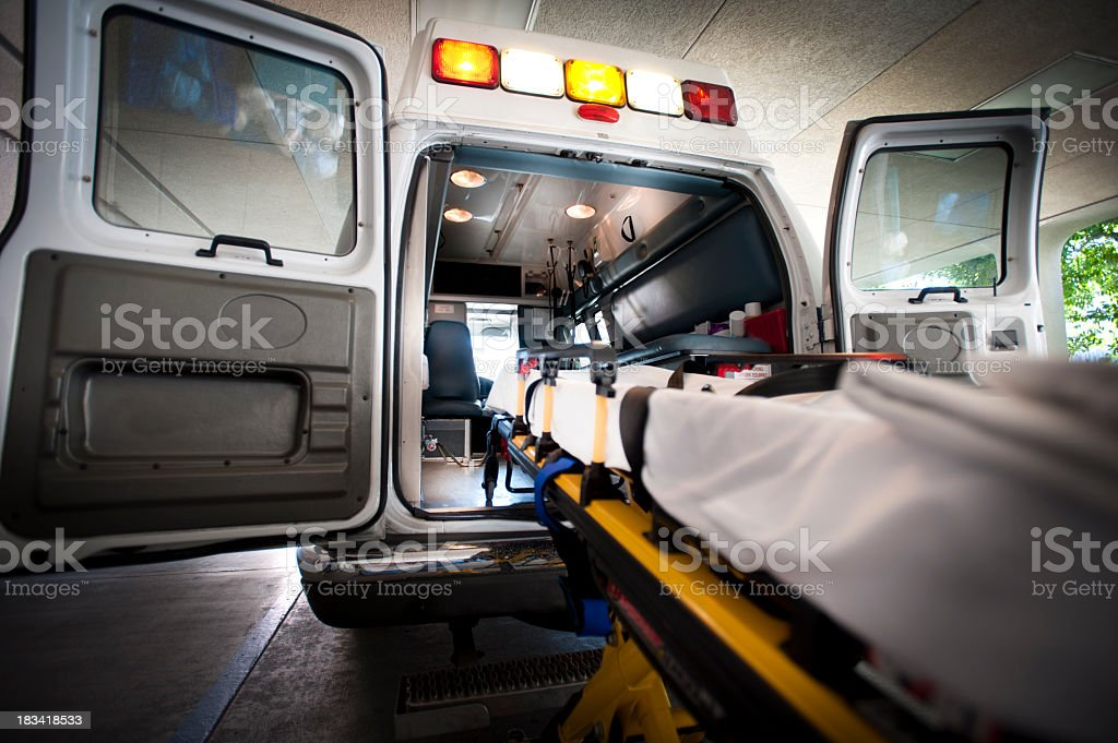 Ambulance and Gurney stock photo