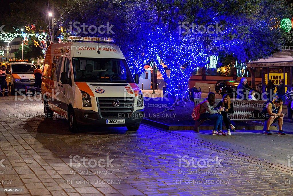 Ambulance car at night street of Santa Cruz stock photo