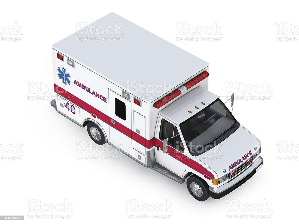 Ambulance Car Isolated on White Background. Isometric Front View stock photo