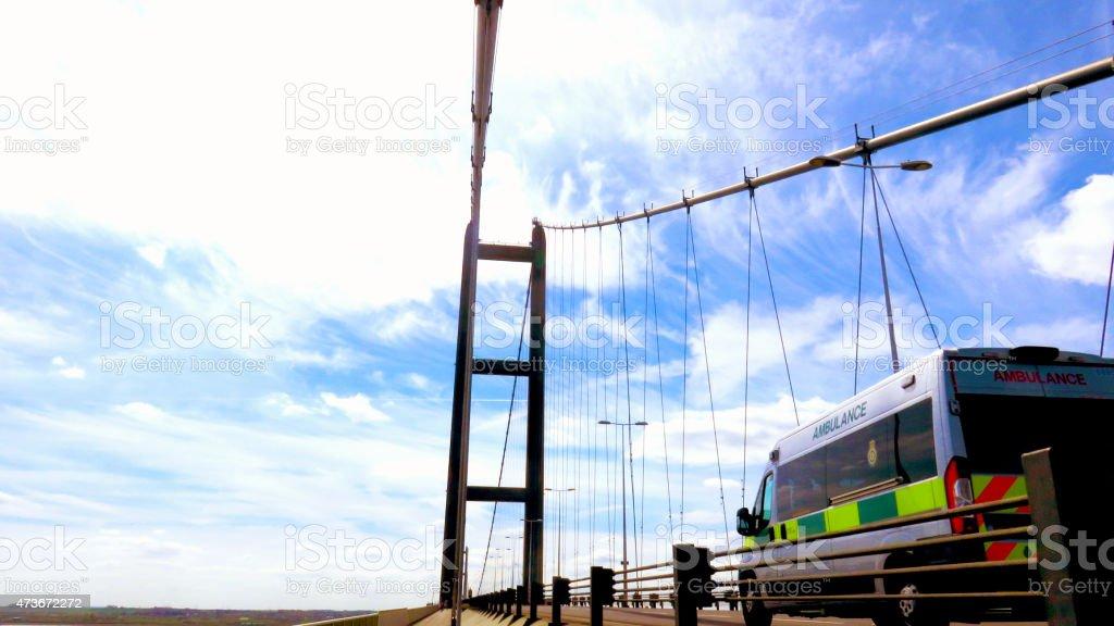 Ambulance Crossing Humber Bridge stock photo