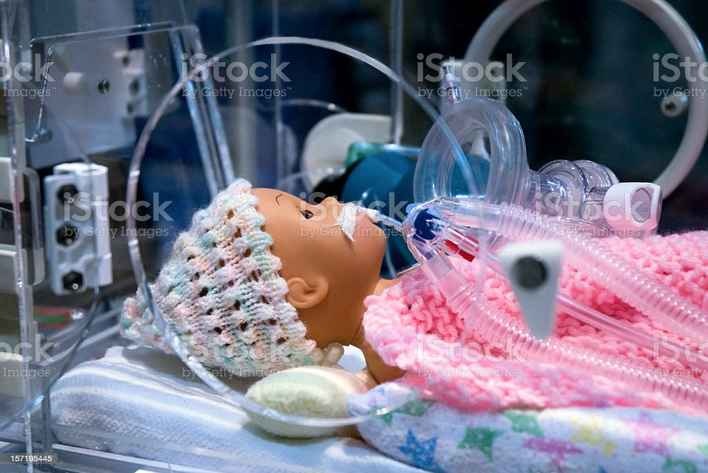 Ambulance Display of Emergency Premature Infant Respiratory Manequin stock photo