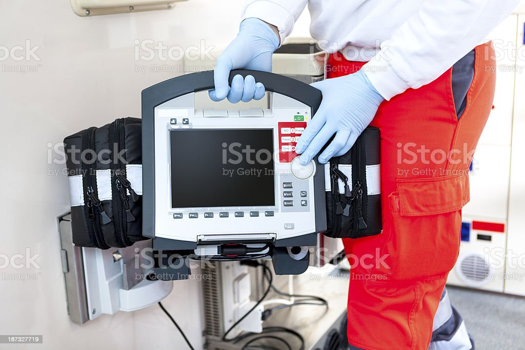Ambulance, ECG Monitor, Defibrillator royalty-free stock photo