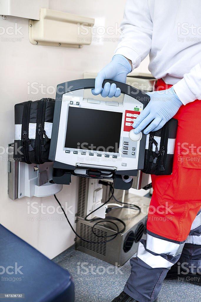 Ambulance, ECG Monitor, Defibrillator royalty-free stock photo