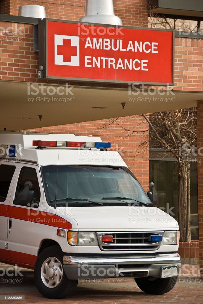 Ambulance Entrance to E.R. stock photo