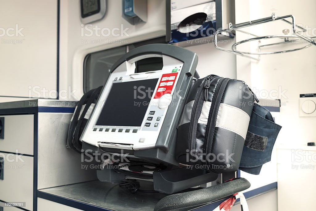 Ambulance equipment - circulatory system monitor and AED royalty-free stock photo