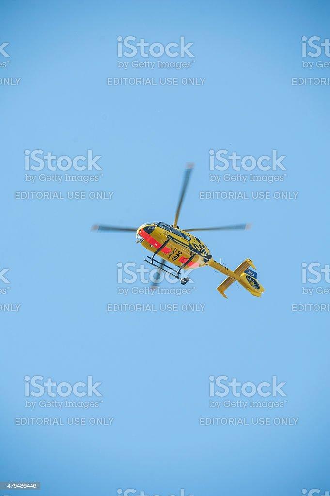 ADAC ambulance heli 'Christopher 61' in the sky of Berlin stock photo