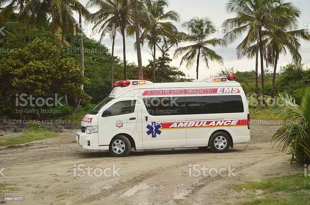ambulance in exotic setting royalty-free stock photo