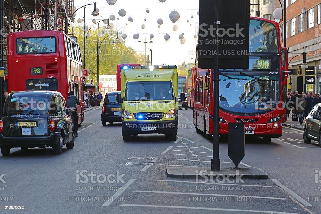 Ambulance in London stock photo