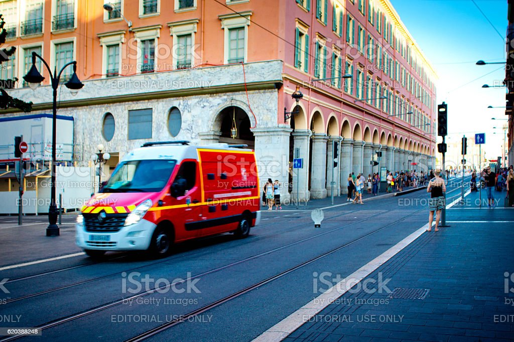 Ambulance in Nice, France stock photo