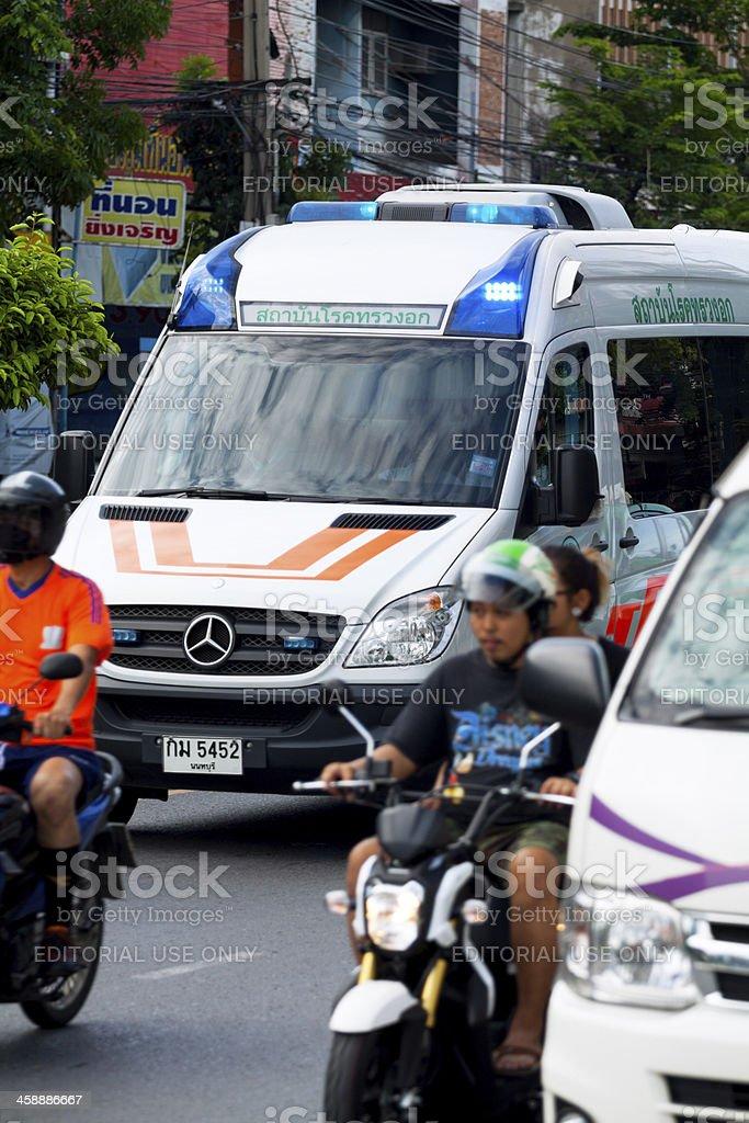 Ambulance in traffic jam royalty-free stock photo