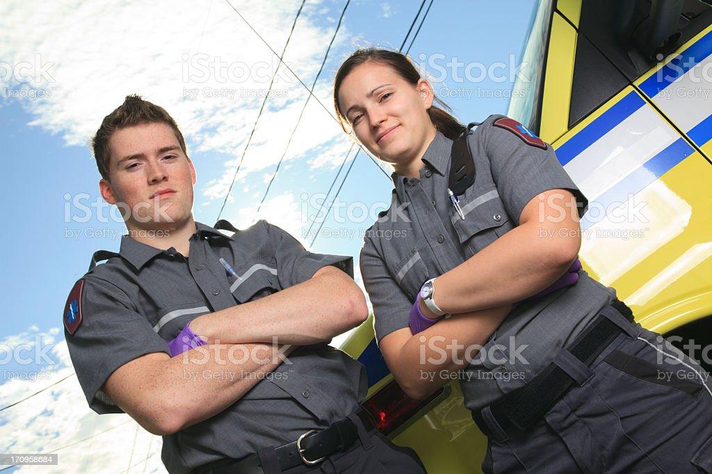 Ambulance Job -Team Standing stock photo
