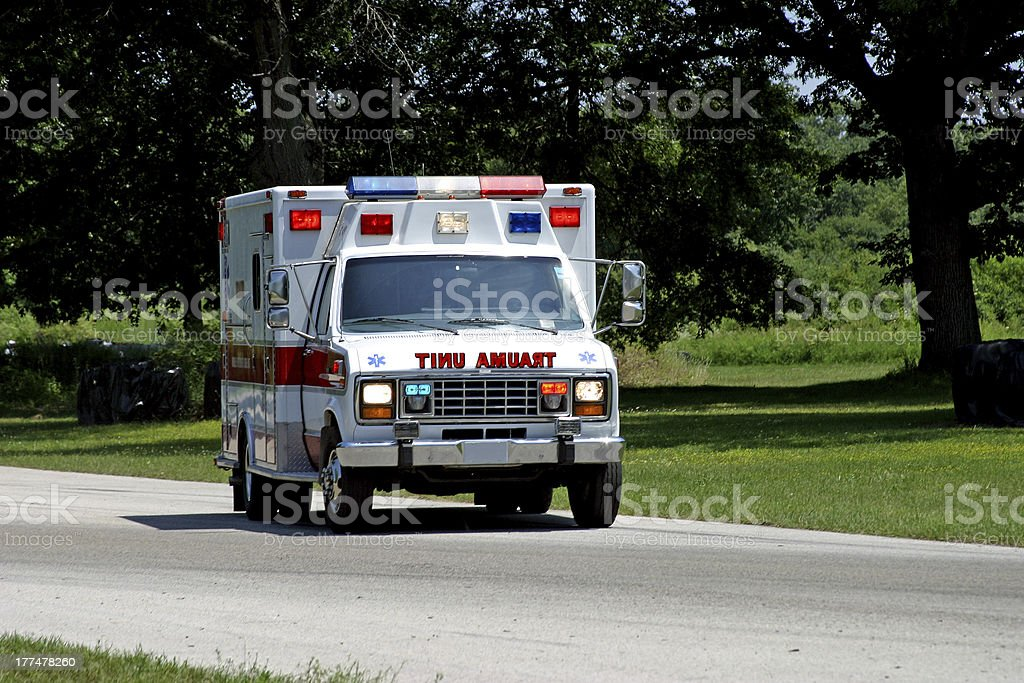 Ambulance on Country Road stock photo