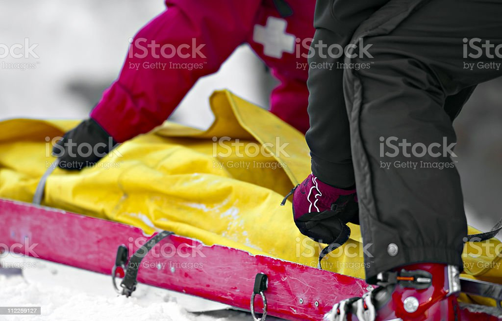 ambulance on ski slope royalty-free stock photo