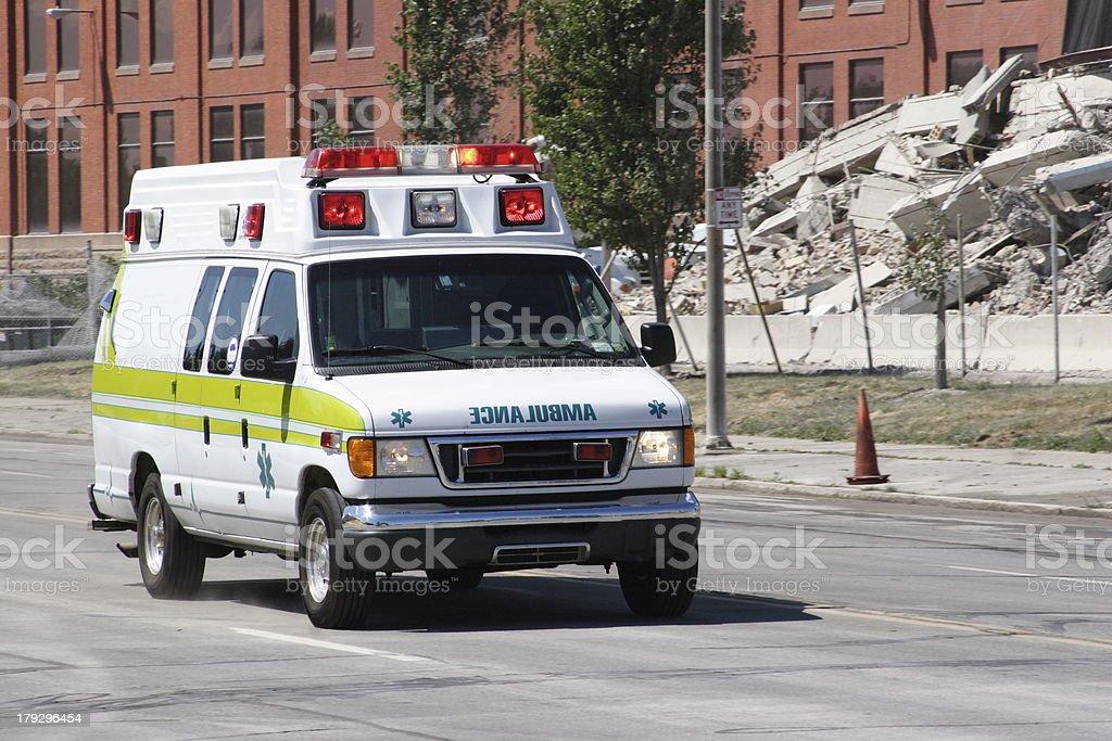 Ambulance on way to call stock photo
