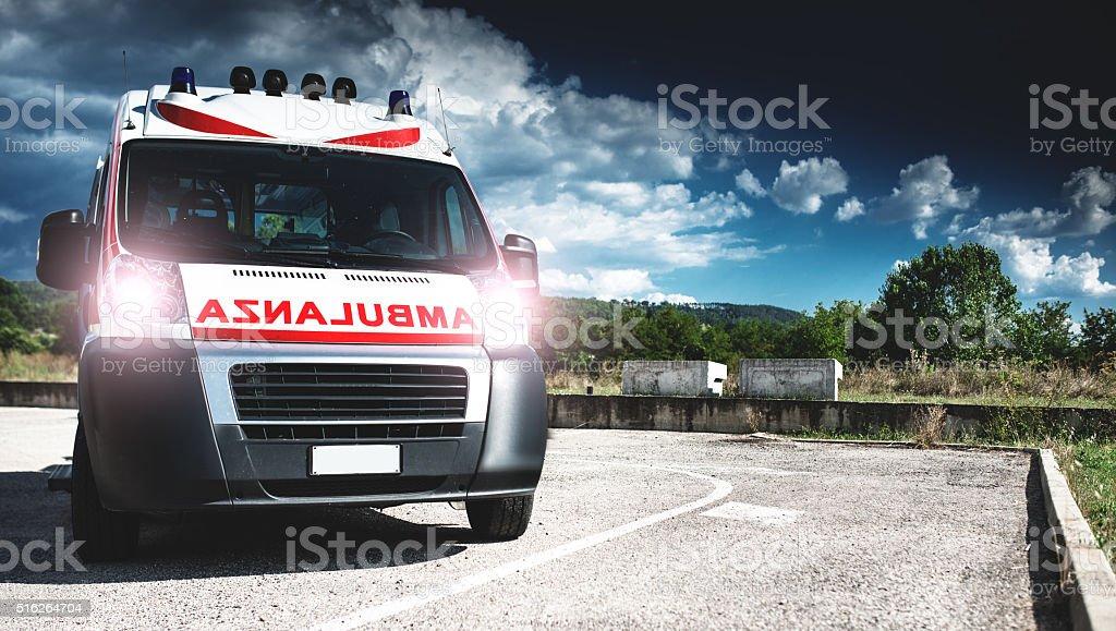 ambulance ready to depart stock photo