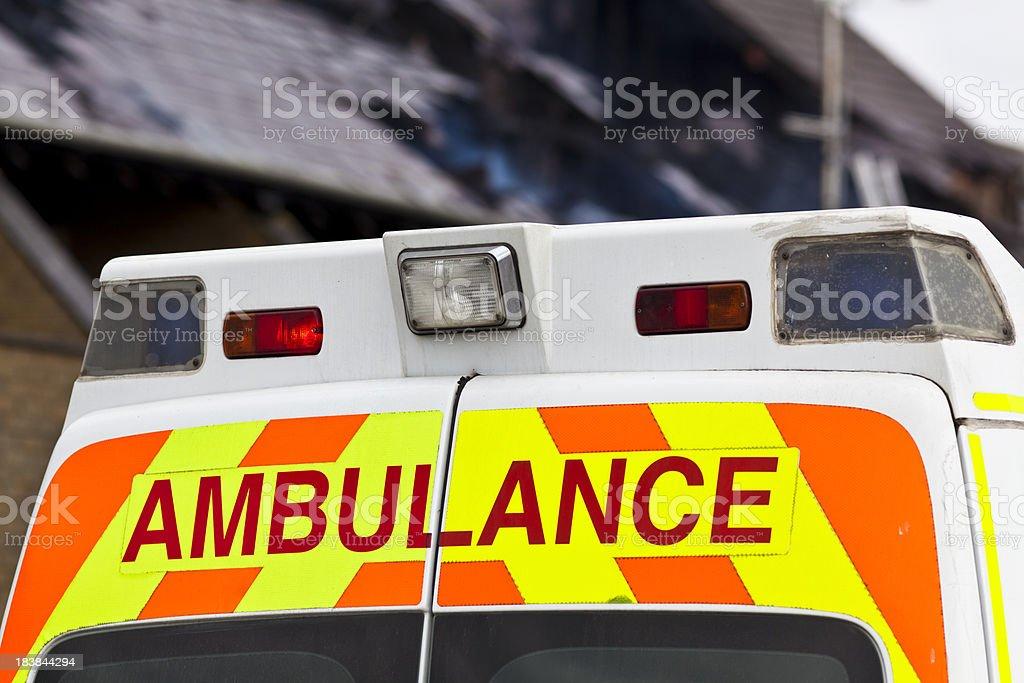 Ambulance reflective strip at emergency site stock photo