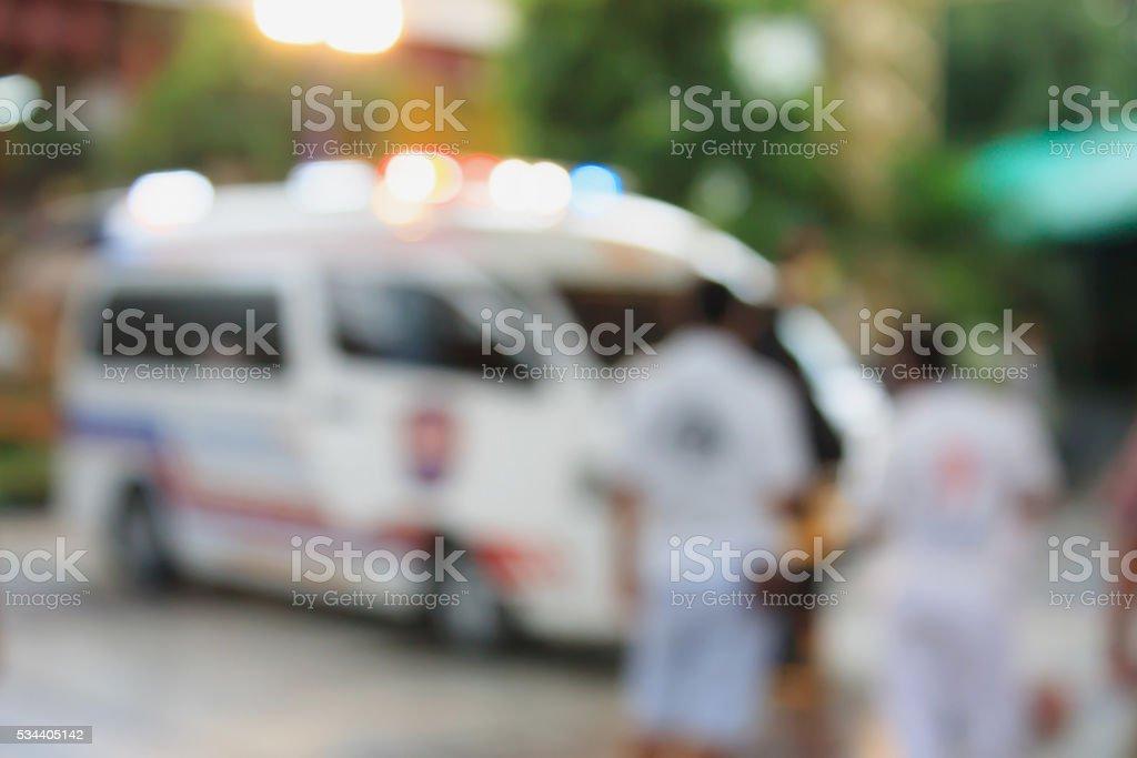 Ambulance responding to emergency call stock photo