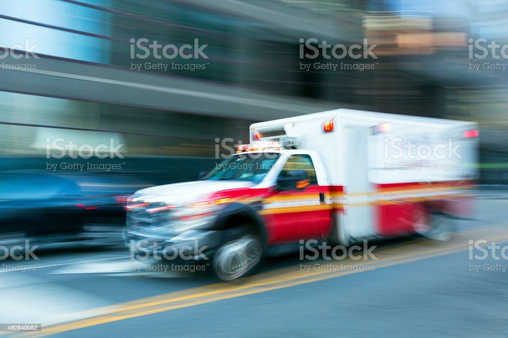 Ambulance Speeding in New York, Blurred Motion stock photo