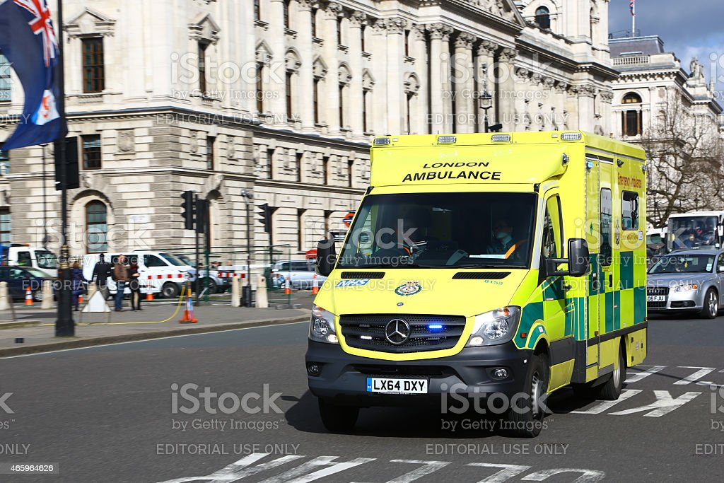 Ambulance speeding up in central London stock photo