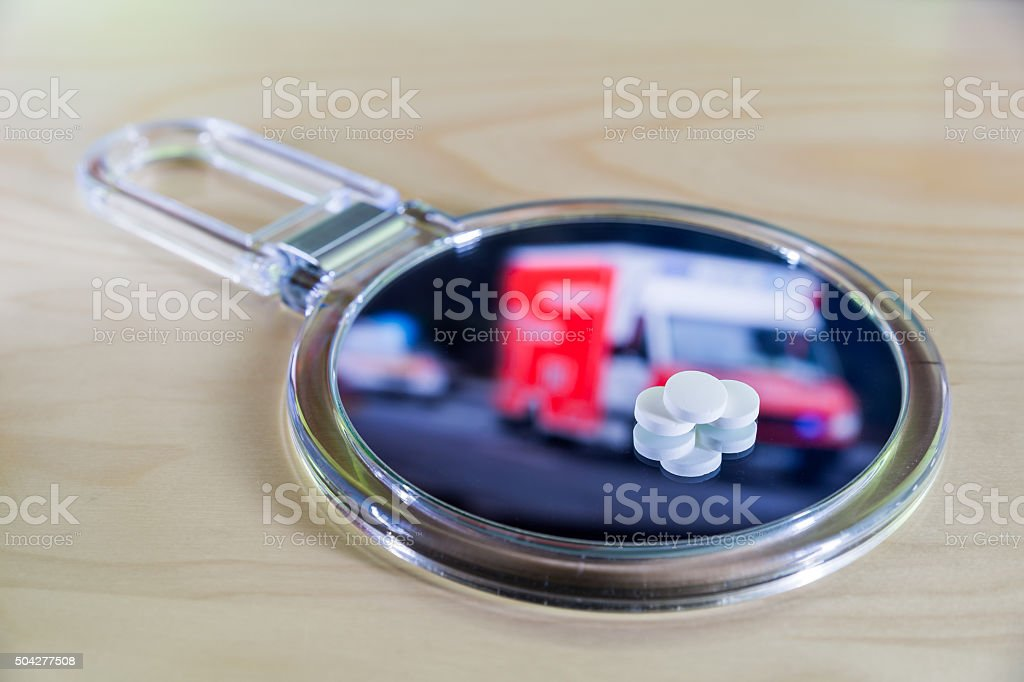 Ambulance with tablets stock photo