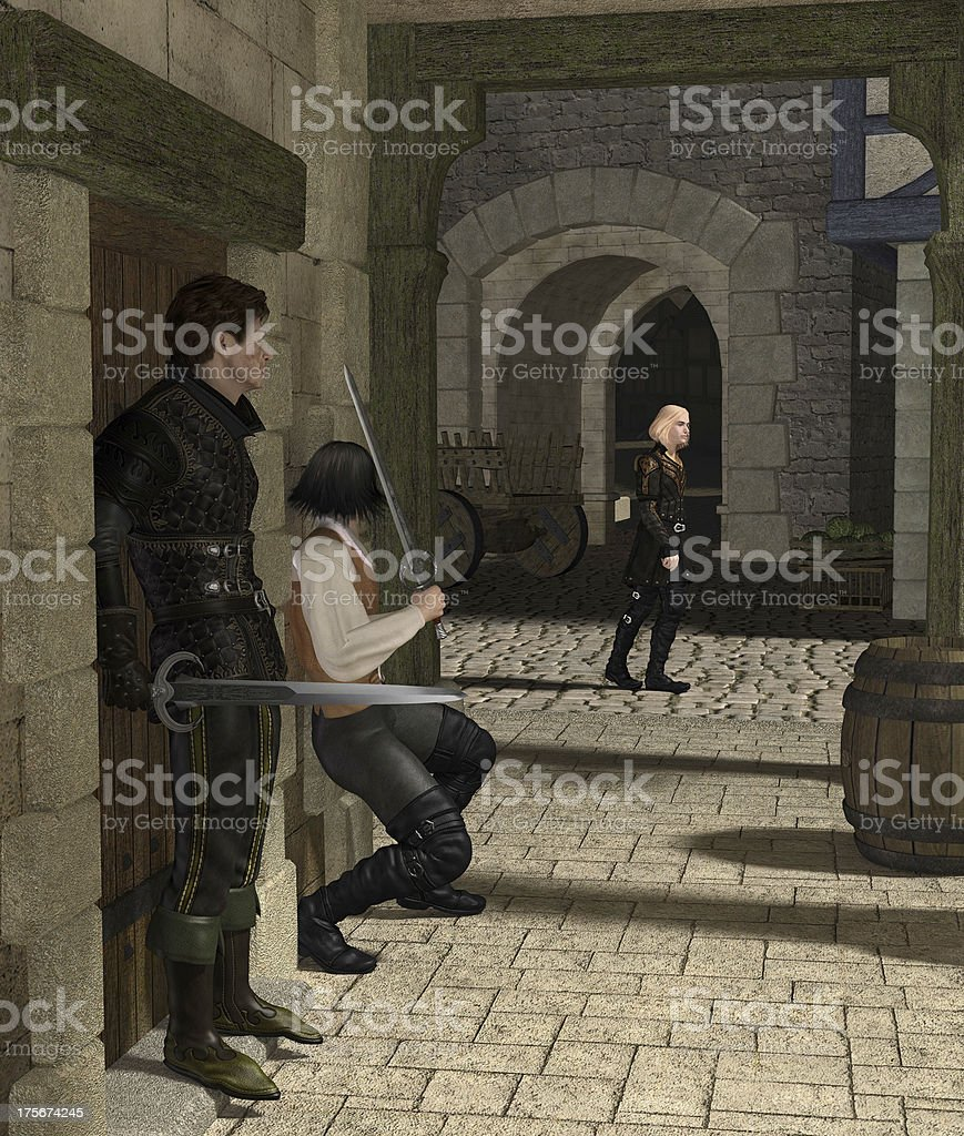 Ambush in a Medieval Alley royalty-free stock photo